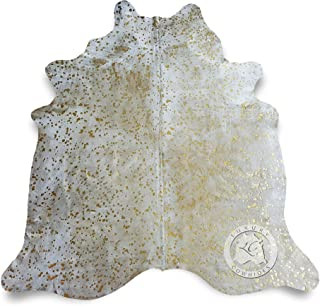 Metallic Devore Gold on Off White Cowhide Rug from Luxury COWHIDES