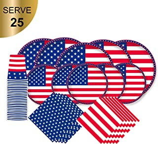 American Flag Patriotic Paper Tableware Set- 125 Pieces - Including Napkins, 10