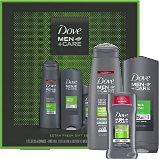 DOVE MEN + CARE Limited Edition Men's Holiday Grooming Gift Pack Extra Fresh Body Wash, Antiperspirant, and Shampoo+condit...
