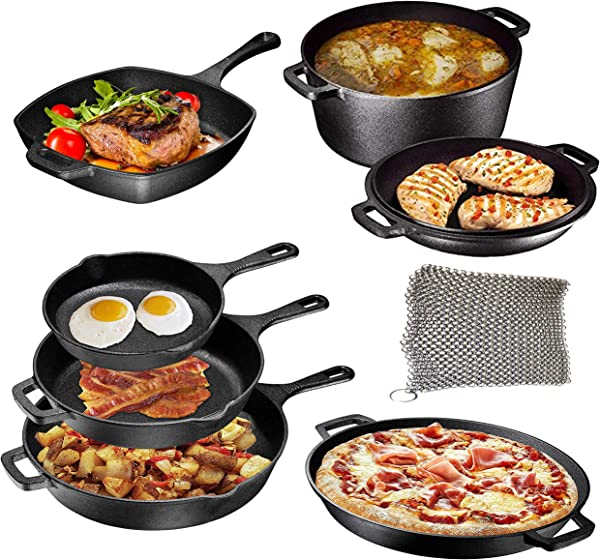 Pre Seasoned Cast Iron 8 Piece Bundle Camping Gift Set Double Dutch 16 Inch Pizza Pan 3 Skillets Square Grill Pan Camping Cookware Set