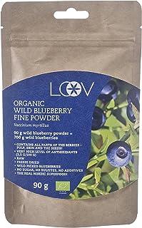 Arándano azul silvestre en polvo: orgánico, cuidadosamente seleccionados a mano procedente de bosques nórdicos, 100% obtenido a partir de fruta entera, crudo, suministro para 18 días, fuente superior de antioxidantes, 90 g, sin azúcar añadida, liofilizado, e-book gratuito