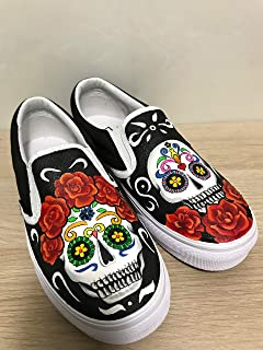 ff31d962d8a18b Skull Vans Slipon Shoes For Women Hand Painted Shoes Custom Vans Sneakers  FREE SHPPING