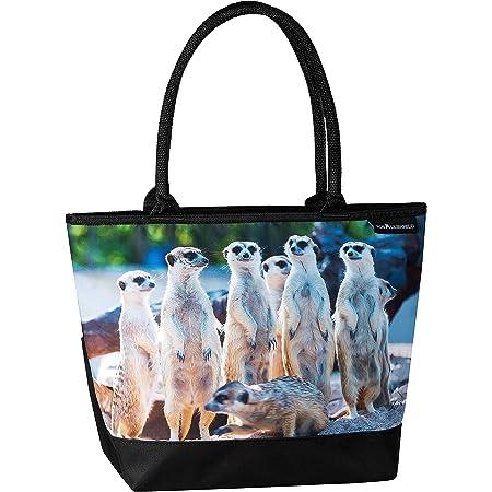 VON LILIENFELD Handtasche Damen Motiv Erdmännchen Shopper Maße cm L42 x H30 x T15 Strandtasche Henkeltasche Büro