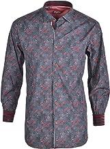 Spazio Red Gede Long Sleeve Casual Button Down Men's Shirt Emporio