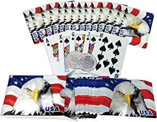 Big Texas Mall American Flag 24k Gold Poker Playing Cards w//Gold Plated Collectible Bitcoin Coin Place Setting Cards Real Gold Standard Professional Quality Gold Foil Plated Prestige Set