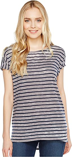 Stripe Cap Sleeve High-Low Crew