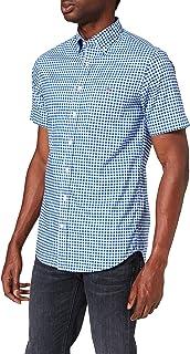 GANT Men's The Broadcloth Gingham Reg Ss Bd Casual Shirt, Blue