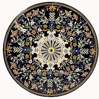 Table de salle à manger ronde en marbre noir 106 cm