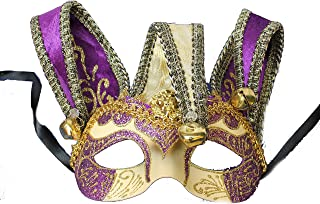 Masquerade Venetian Jester, Fancy Embroidered and Painted Half Mask Costume Accessory