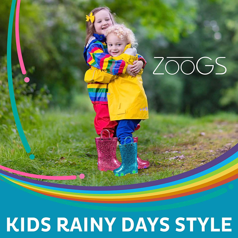 ZOOGS Glitter Light up Kids Toddler Rain Boots for Girls