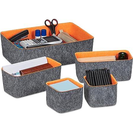 Relaxdays 10035372 Paniers de Rangement en Feutre, Lot de 5, Organiseur de tiroir pour Bureau, 3 Tailles, corbeilles, Gris/Orange
