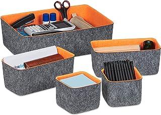 Relaxdays 10035372 Paniers de Rangement en Feutre, Lot de 5, Organiseur de tiroir pour Bureau, 3 Tailles, corbeilles, Gri...