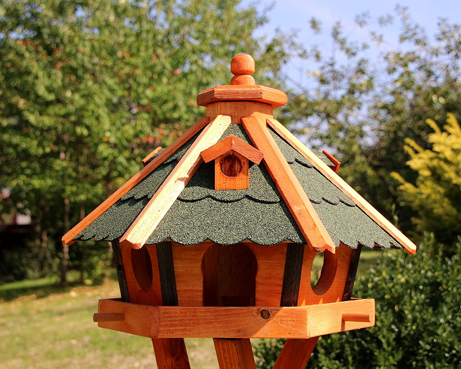 Bird house, Bird houses with Solar Lighting with and without Stand treated Type 23  Green, Without Stand