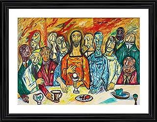 *A Monumental Reinterpretation of Leonardo Da Vinci's Last Supper* (1990)- Painting by F. N. Souza, Wall Décor Frame (Acry...