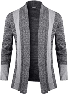 Sykooria Men's Autumn Cardigans Clothes Gentleman Shawl Collar Long Sleeve Open Front Cable Chunky Winter Knitted Jumpers ...