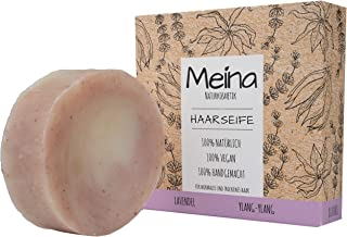 Meina - Haarseife Naturkosmetik für trockenes Haar - Bio Shampoo Bar mit Lavendel und Ylang-Ylang 1 x 80 g palmölfrei, vegan festes Shampoo, Shampooseife