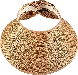 Women's Wide Brim Roll-up Straw Sun Visor Packable Foldable Sun Visor Beach Open Top Hat