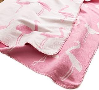 mofua (モフア) 綿毛布 肌にやさしい 綿100% ふんわり起毛 ブランケット 動物柄(フラミンゴ) シングル(140×200cm) ピンク 55600101
