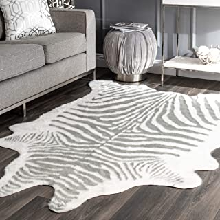 nuLOOM Faux Zebra Shaped Rug, 5' x 6' 7