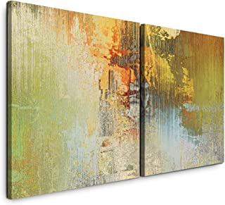 Paul Sinus Art GmbH Art abstrait 120 x 60 cm – 2 tableaux muraux de 60 x 60 cm chacune, impression d'art moderne, tableau ...