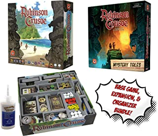 Robinson Crusoe Board Game + Mystery Tales Expansion + Fitted Evacore Insert Organizer - Board Game Bundle!