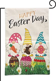 Joyiou Easter Garden Flag Spring Easter Decorations 12 x 18 Double Sided Easter Decor Happy Easter Day Gnomes Easter Egg B...