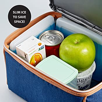Fit & Fresh Cool Coolers Slim Ice Packs for Coolers/Lunch Bags/Lunch Boxes/Office/Jobsite/Camping/Beach/Picnics/Golfi...