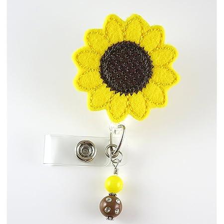 ID holder Retractable Badge Reel nurse gift Yellow Stripe Fabric flower badge nurse badge reel Navy Mustard Yellow Fabric Flower Badge