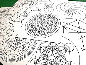 神聖幾何学模様 塗り絵用 10種類10枚セット 13cm×13cm フラワーオブライフ シードオブライフ マカバ トーラス 十二角形 メタトロンキューブ ヤントラ スパイラル右 スパイラル左 マリア