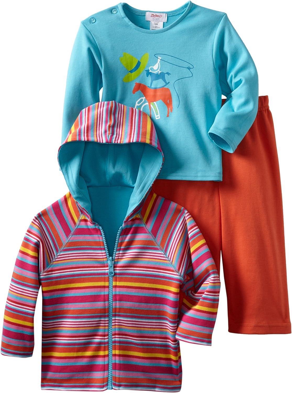 Zutano Unisex Baby CowBoys Hoodie T Shirt Pant Set
