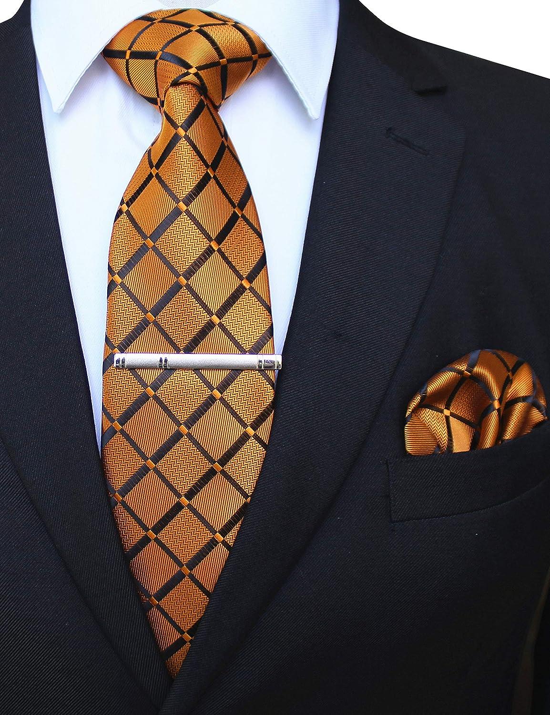 JEMYGINS Cravatta Uomo Scacchi in Diversi Colori con Fazzoletto e Fermacravatta
