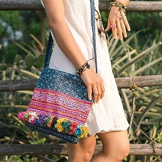 Changnoi Handcrafted Vintage Hmong Embroidered Crossbody Bag, Colorful Tassels Handbag from Thailand, Blue Batik Bag, Ethnic Bag