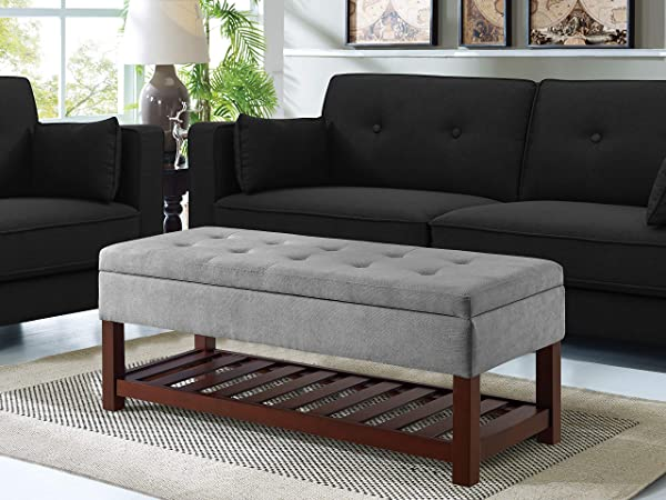Relax A Lounger Ryan Functional Bench With Storage And Shelf Tufted Microfiber Top Dark Grey