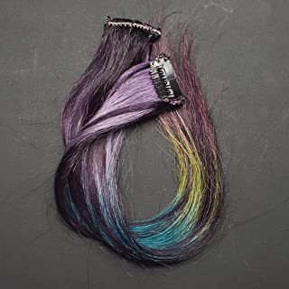 12 inch Midnight Rainbow Clip in Ombre Human Hair Extensions