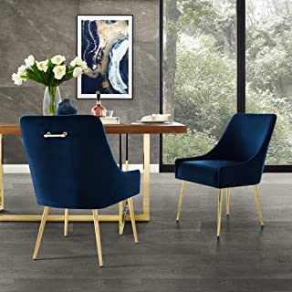 InspiredHome Navy Velvet Dining Chair - Design: Christine | Armless | Set of 2 | Knob Handle | Stainless Steel Legs
