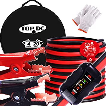 TOPDC Smart Jumper Cables 4 Gauge 20 Feet -40℉ to 167℉ Heavy Duty Booster Cables with Reverse Hook Up and Alternator Indicator, Battery Condition Tester (4AWG x 20Ft): image
