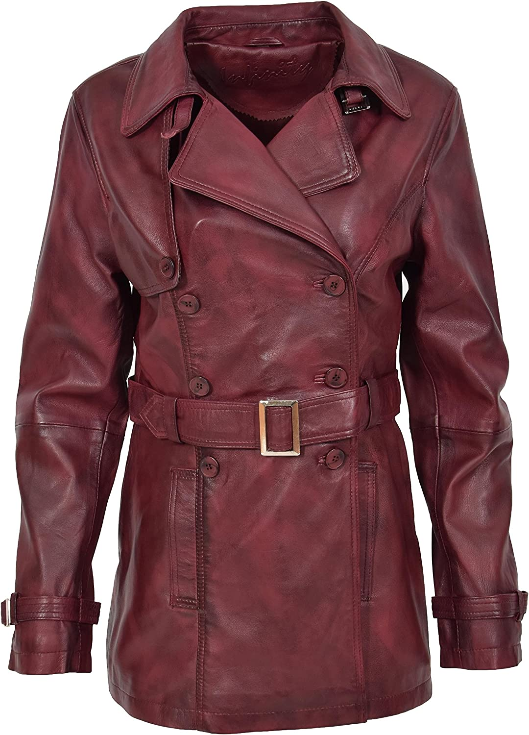 HOL Ladies Real Leather Double Breasted Trench Coat Fitted Style Sienna Burgundy