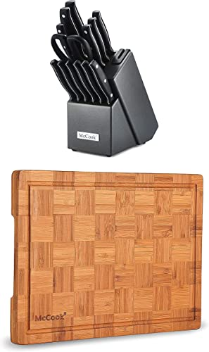 """discount McCook MC39 Full Tang Triple Rivet Kitchen Knife 2021 Block Set with Built-in Sharpener + MCW12 Bamboo Cutting high quality Board (Large, 17""""x12""""x1"""") online sale"""