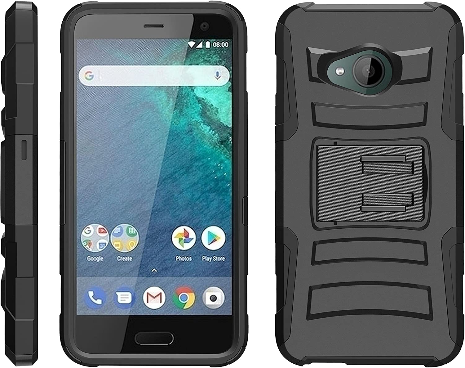 TurtleArmor | Compatible with HTC U11 Life Case [Hyper Shock] Armor Hybrid Cover Kickstand Impact Holster Belt Clip Sports and Games - Black
