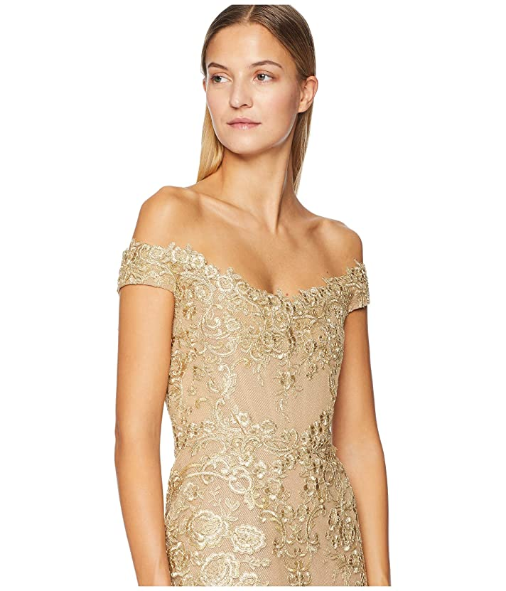 1461ab35221 Marchesa Corded Lace Off Shoulder Cocktail Dress with 3D Sequin Roses at  Luxury.Zappos.com