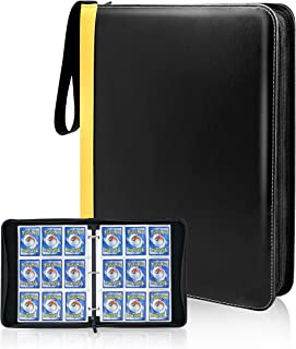 CLOVERCAT Waterproof 9 Pocket Trading Card Binder, Storage Book with 3 Rings, Expandable,720 Double Sided Pocket Album Com...