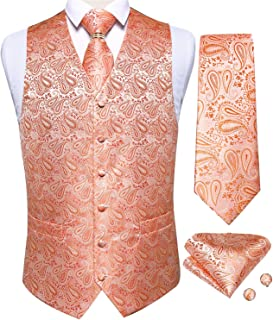 DiBanGu Men's Waistcoat Formal Suit Paisley Vest and Tie Pocket Square Cufflinks Set Wedding S-3XL