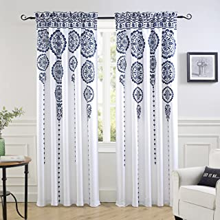 DriftAway Taylor Moroccan Cascading Medallion Floral Pattern Room Darkening Window Curtains Rod Pocket 2 Panels Each Size 50 Inch by 84 Inch Navy