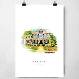 Custom Watercolor House Portrait Illustration for a Perfect Housewarming First Home or Realtor Closing Gift