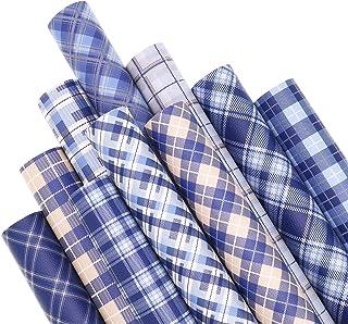 ZAIONE 10PCS/Set Plaid Printed Blue & Yellow Series Faux Leather Sheets Bundle 12inch x 8inch Striped Printed Tartan Check...