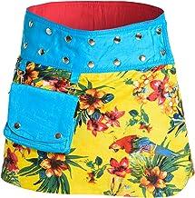 Damen Minirock aus Indien mit Tasche und 2 Mustern zum Wenden, Sommerrock kurz, Wenderock, Wickelrock Goa Gypsy Hüftschmei...