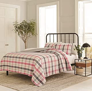 Nautica Hackberry Plaid Quilt Set, Twin, Pink/Grey