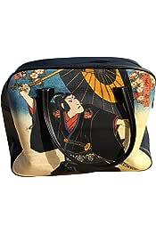 RaanPahMuang Large Shopping Tote Bag Hayabusa Samurai With Hawk Print
