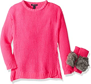 Girls' Chenille Pullover Sweater with Mittens
