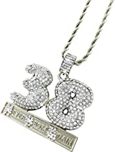 Exo Jewel Iced Out CZ Diamond 38 Never Broke Again Pendant Necklace with 24